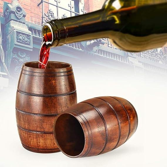 2x Handmade Solid Wooden Drinking Cup Tumbler Water Milk Beer Mug Gift