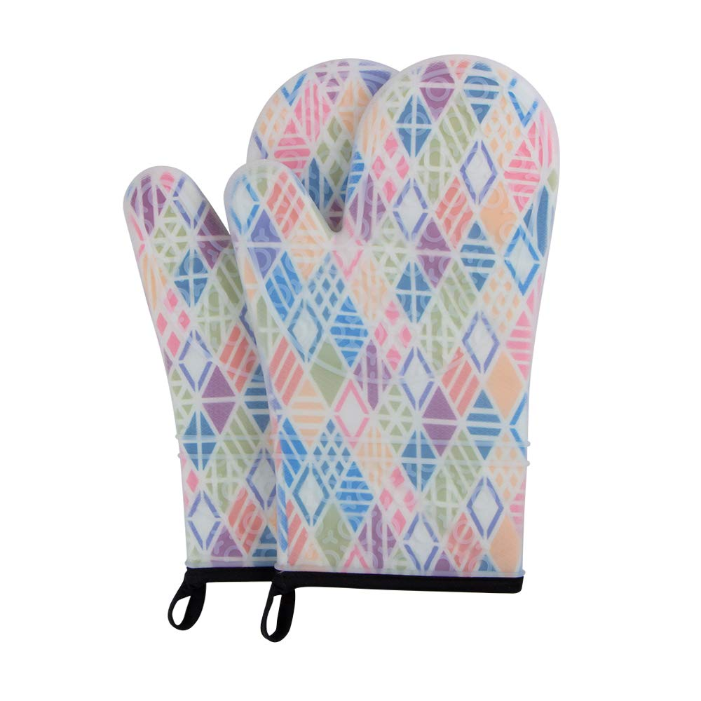 webake Oven Mitts Set of 2 Oven Gloves Heat Resistant 500 Degree with Transparent Clear Silicone Shell and Quilted Cotton Lining -Model 6