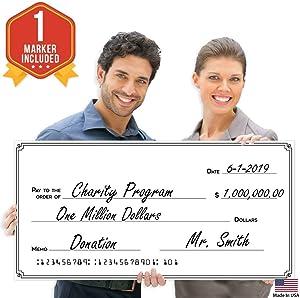 "Giant Fake Award Presentation Check - 16"" x 32"" - Large Novelty Endowment Check for Endowment, Donations, Fundraiser - Big Blank Oversized Raffle Sweepstakes Reward Winners Check"