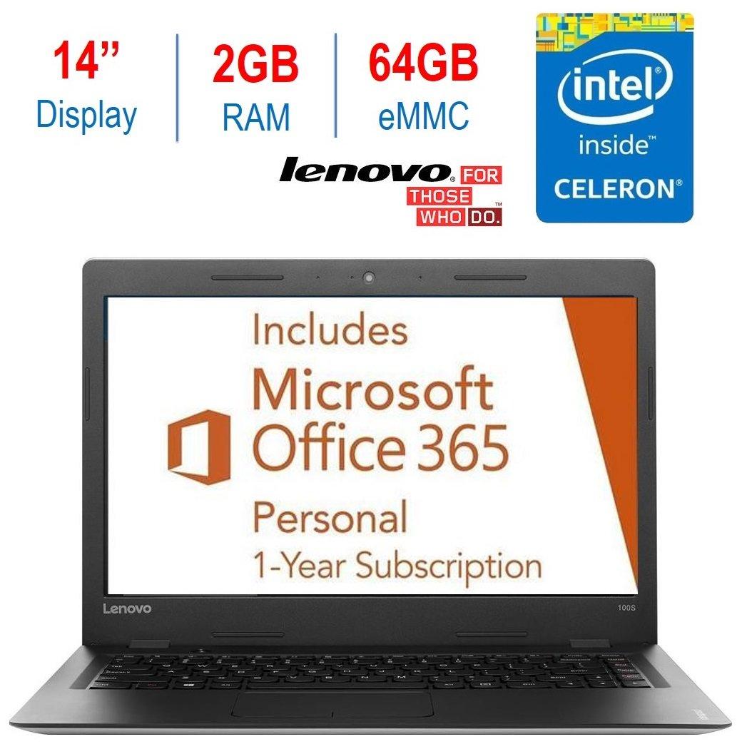2017 Model Lenovo Ideapad 14'' HD LED Backlight Laptop PC, Intel Celeron Dual Core N3050 Processor 1.6GHz, 2GB RAM, 64GB SSD, HDMI, Webcam,1 Year Office 365 Personal, Silver, Windows 10 Home