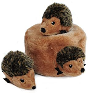 ZippyPaws - Woodland Friends Burrow, Interactive Squeaky Hide and Seek Plush Dog Toy