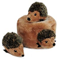 ZippyPaws - Woodland Friends Burrow, Interactive Squeaky Hide and Seek Plush Dog Toy - Hedgehog Den