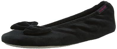 0761c04523d Isotoner Womens Velour Big Bow Ballerina Slippers