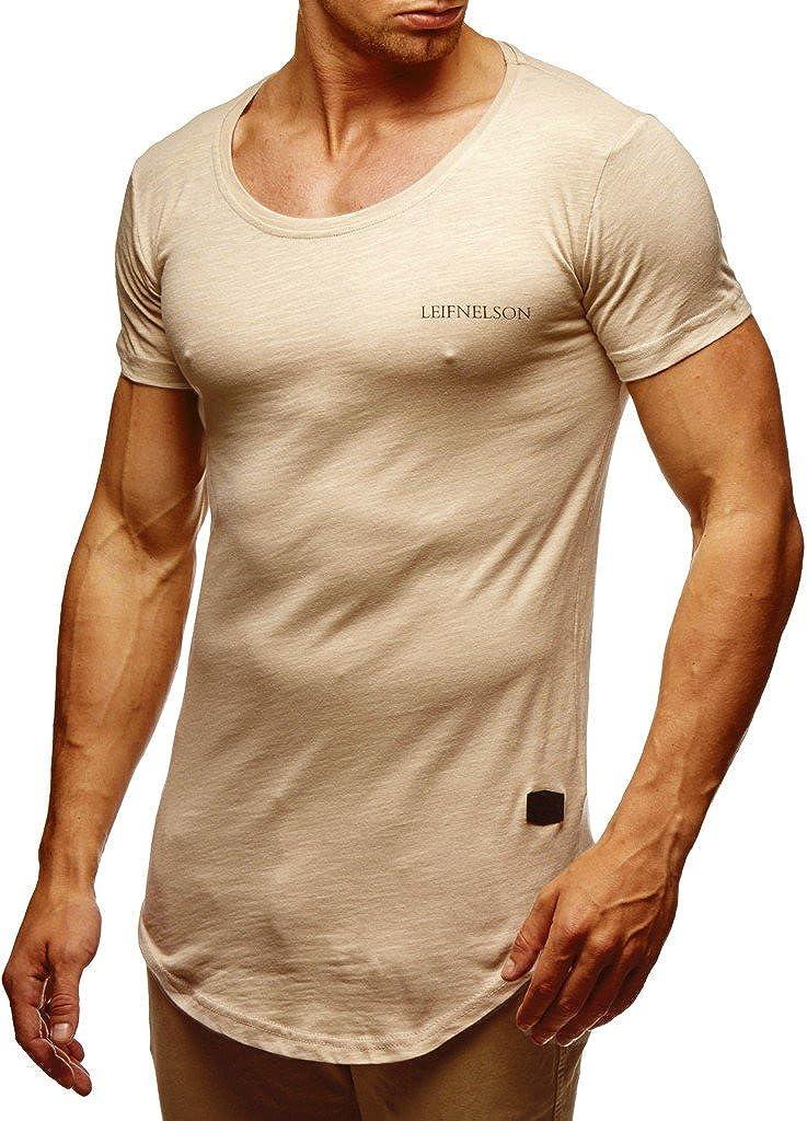 Leif Nelson Herren Sommer T-Shirt Rundhals-Ausschnitt Slim Fit Baumwolle-Anteil Moderner M/änner T-Shirt Crew Neck Hoodie-Sweatshirt Kurzarm lang LN6350N