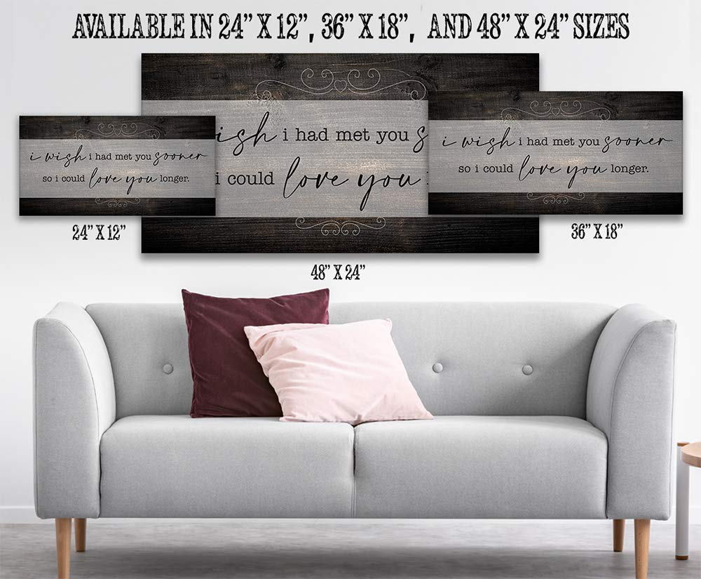 Large Canvas I Wish I Had Met You - Stretched on a Heavy Wood Frame Perfect Headboard Decor Great Housewarming Anniversary and Wedding Gift Under $50 Ready to Hang Not Printed on Wood