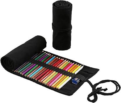 Estuche para lápices de lona, Fanspack 72 agujeros estuche lapices bolsa de lapices Pen Wrap Papelería para Estudiantes Escolar Papelería: Amazon.es: Equipaje