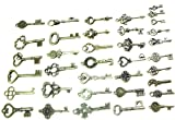 BESTIM INCUK 40 Pack Vintage Skeleton Keys Charms in Antique Bronze Color for Jewelry Making Supplies, Steampunk Accessories, Craft Projects