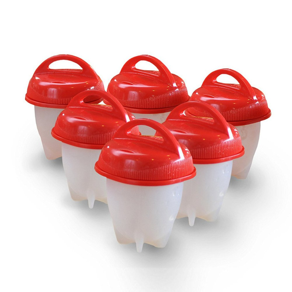 Mini Egglettes Egg Cooker, Poached Boiled Eggs No Shell Steamer Silicone Egg Cooking Mould 6PCS Yvonne