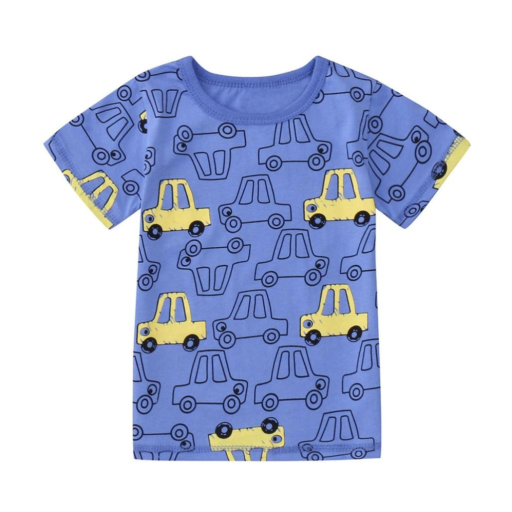 Hot Sales! Summer Infant Baby Kids Boys Girls Short Sleeve Cartoon Car Print Tee T Shirts Tops for 0-5 Years Old Little Boys Girls (Age: 12-18 Months, Beige) Jchen