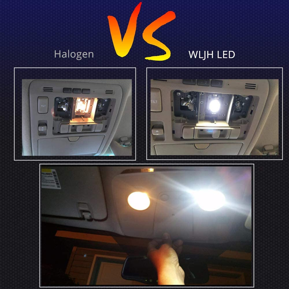 Xenon White Pack of 2 WLJH 28mm LED Festoon DE3021 DE3022 3030 Chip Bulb Canbus Error Free 300LM 6000K Extremely Bright Use for Dome Map Door License Plate Trunk Sunvisor Vanity Mirror Lights