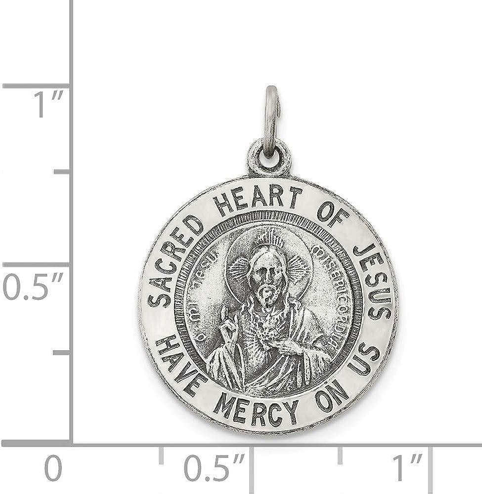 925 Sterling Silver Solid Satin Antique finish Engravable back only Sacred Heart of Jesus Medal Pendant