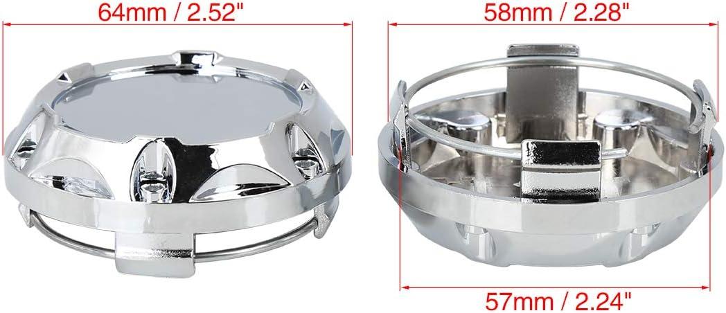 X AUTOHAUX 64mm Dia 4 Clips Car Wheel Center Hub Caps Base Silver Tone 4 Pcs