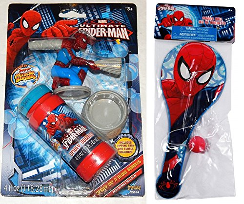 Imperial/ What Kids Want Ultimate Spiderman Dip N Blow Bubble with Spiderman Paddle Ball
