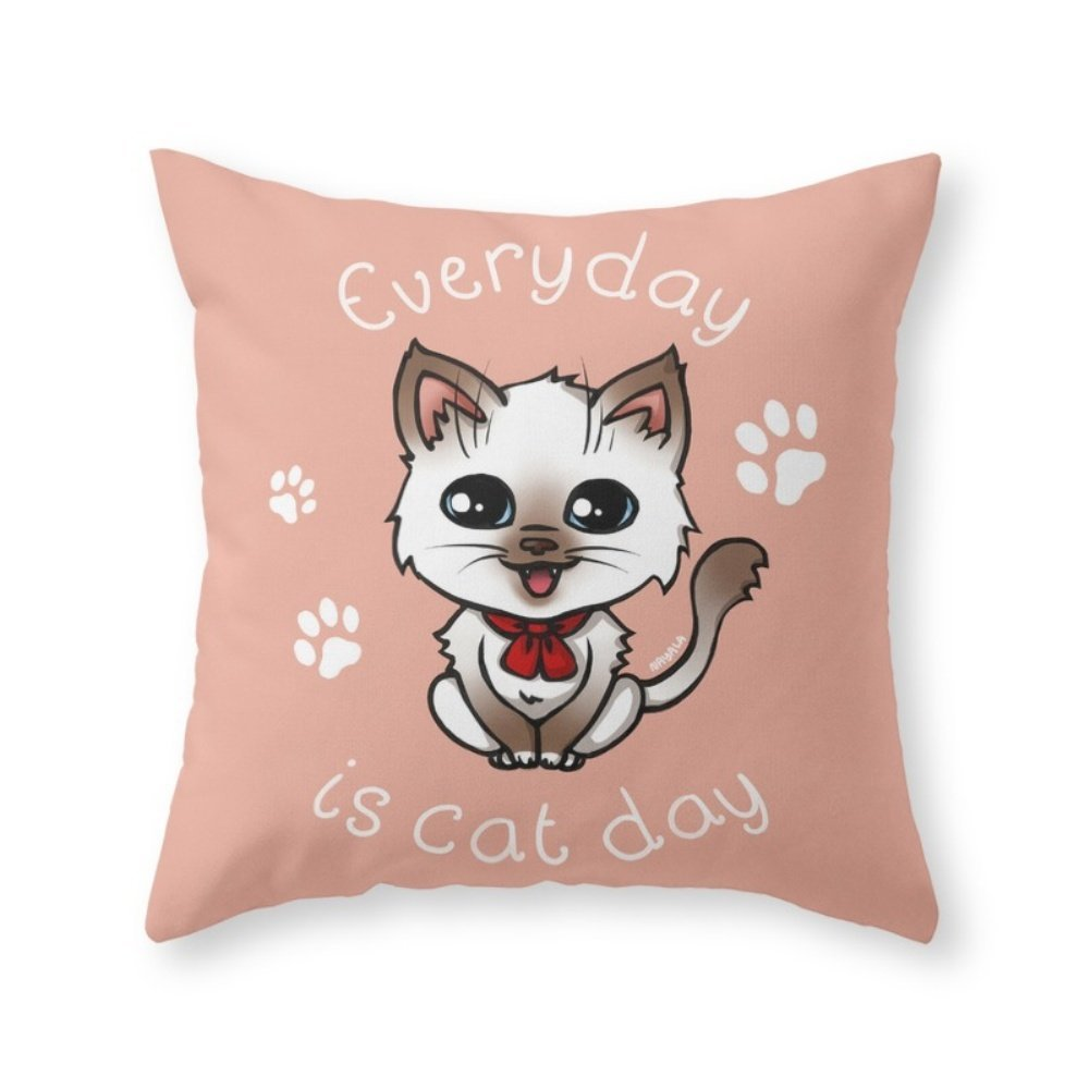 Society6 Everyday Is Cat Day (1st Version) Throw Pillow Indoor Cover (20'' x 20'') with pillow insert