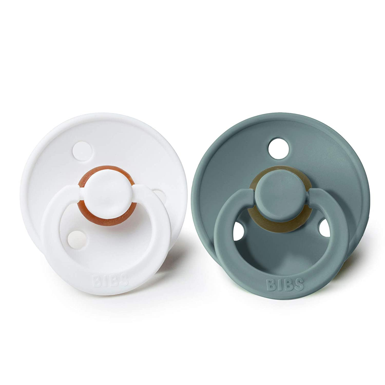 BIBS BPA-Free Natural Rubber Baby Pacifier | Made in Denmark (Island Sea/White, 0-6 Months) 2-Pack
