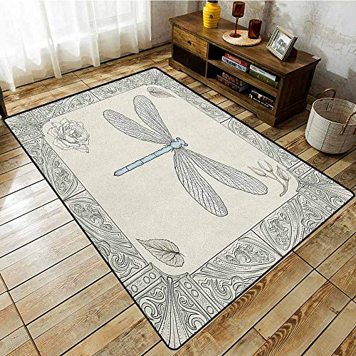 Bedroom Rug,Dragonfly,Hand Drawn Royal Ancient Style Rose Petals Leaves and Ornate Figures Design,Easy Clean Rugs Black Pale Blue