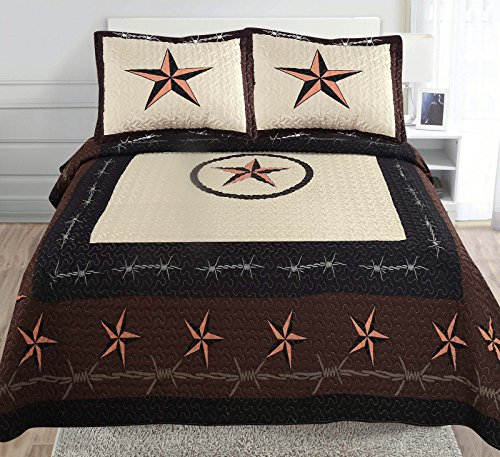 Golden Linens 3-Piece Beige Chocolate Back Western Lone Star Barb Wire Cabin/Lodge Quilt Bedspread Coverlet Set Full/Queen, Wire Star