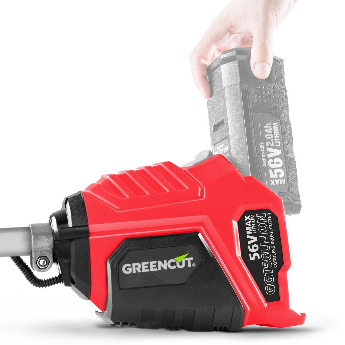 Greencut GGT56LI-ION - Desbrozadora con batería de lítio, 56V - 2,0Ah/4,0Ah