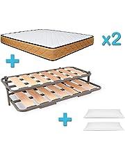 Duérmete - Cama Nido Reforzada Completa + 2 Colchones Viscoelásticos Reversibles + 2 Almohadas de Regalo