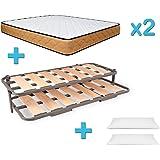 Duermete Cama Nido Completa Láminas Anchas Reforzada + 2 colchón es Viscoelásticos Reversibles + Regalo 2