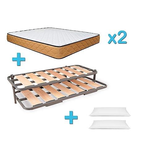 Duermete Cama Nido Completa Láminas Anchas Reforzada con 2 Colchones Viscoelásticos Reversibles Y Regalo 2 Almohadas