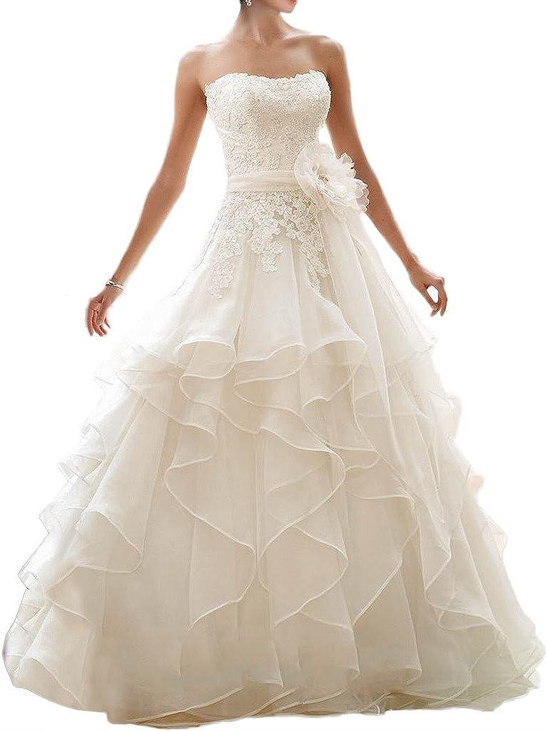 Milano Bride Prinzess Bandeau Spitze Organza Hochzeitskleider Brautkleider  Brautmode Mehrlagig Blumen Lang Rueschen