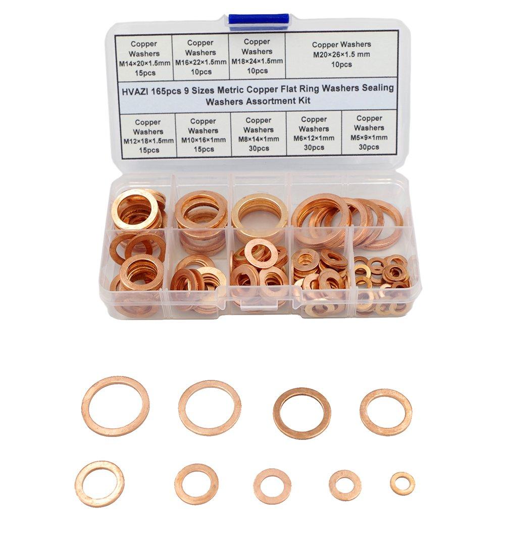 Amazon.com: HVAZI 165pcs 9 Sizes Metric Copper Flat Ring Washers ...