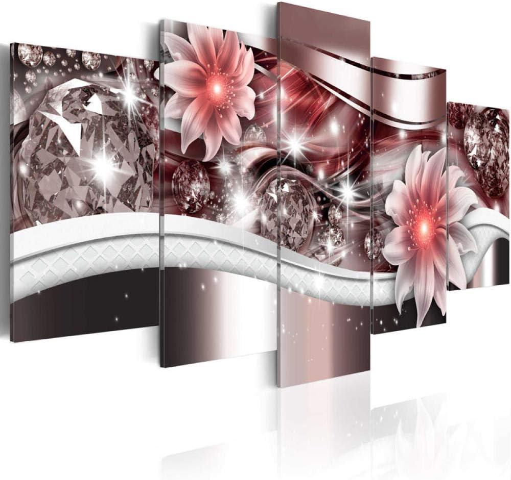 WWMJBH 5 Piezas Lienzos Cuadros Pinturas 150 X 80 Cm Vintage Fondo Marrón Flores De Color Rosa Cuadros Decoración Pinturas Sobre Lienzo Arte De Pared Para El Hogar Decoraciones De Pared Decoración Imá