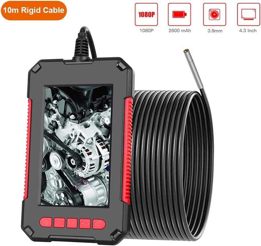 Kkmoon Inspektionskamera 10m Tragbare Handheld Industrieendoskop Endoskop Ip67 Wasserdichte 3 9 Mm Linse Eingebaute 6 Einstellbare Leds Mit 4 3 Zoll Hd Bildschirm 1080p Auflösung Mit Zubehör Rot Baumarkt
