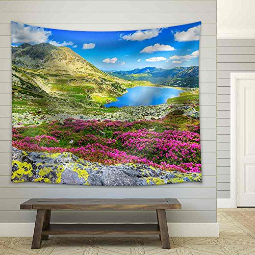 Glacier Lake High Mountains and Stunning Pink Rhododendron Flowers Retezat National Park Carpathians Romania Europe Fabric Wall