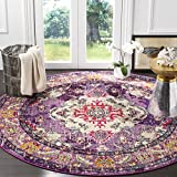 Safavieh Monaco Collection MNC243P Vintage Bohemian Violet and Fuchsia Distressed Round Area Rug (5′ in Diameter) For Sale