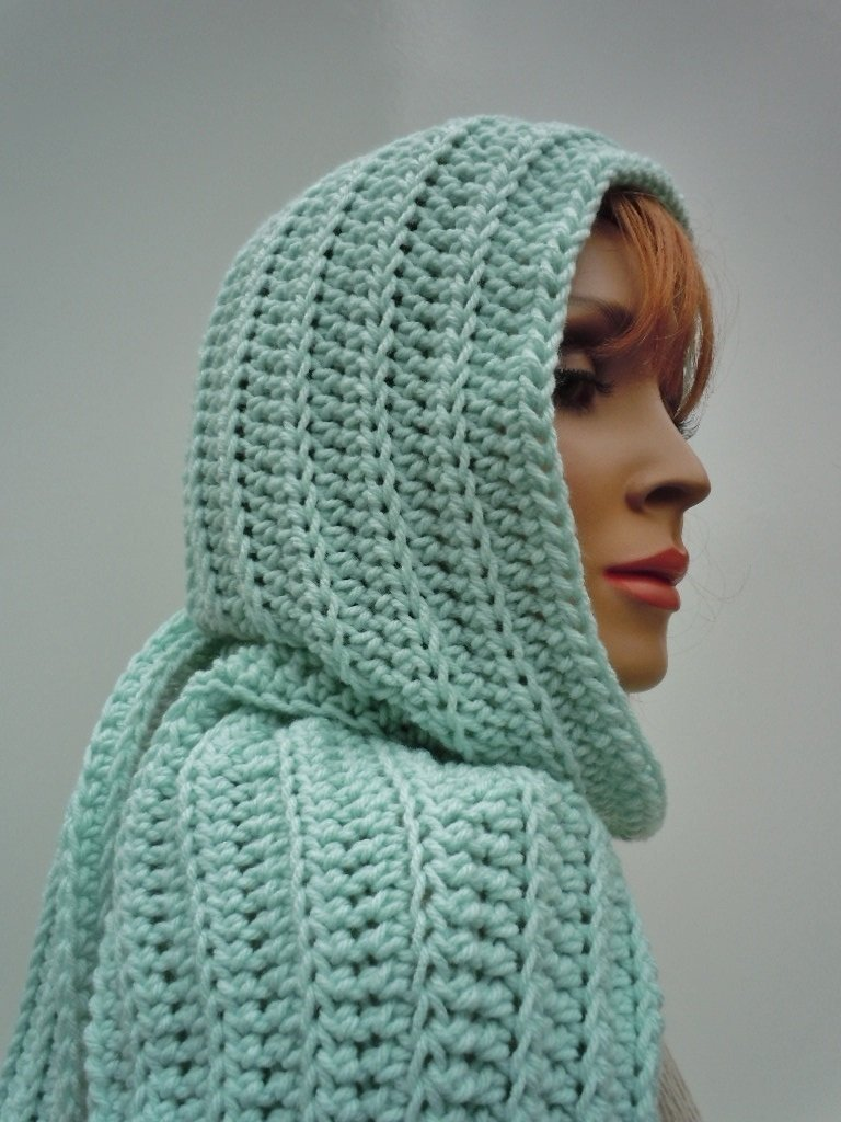 Amazon Mint Green Hooded Scarf Pastel Light Green Scarf Pixie