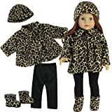 18 Inch Doll Clothes Outfit, 4 Pc. Animal Print Outfit of Leggings, Doll Jacket, Hat & Doll Boots Fits 18 Inch American Girl Dolls, Complete Set of Leggings, Doll Coat, Doll Hat & Matching Boots