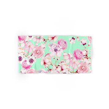 Society6 Girly rosa con estampado de flores verde menta mano & toalla de baño, multicolor