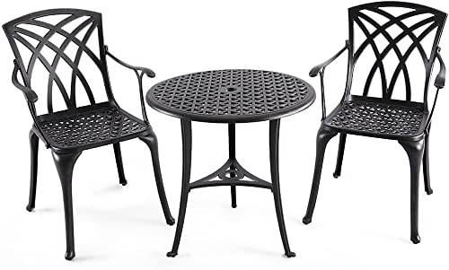 Nuu Garden Outdoor 3 Piece Cast Aluminum Patio Bistro Set with 26 Round Table and Arm Chairs SCD001-01, Antique Bronze