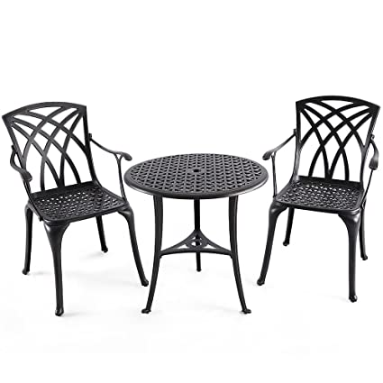 Awesome Nuu Garden Outdoor 3 Piece Cast Aluminum Patio Bistro Set With 26u0026quot;  Round Table And
