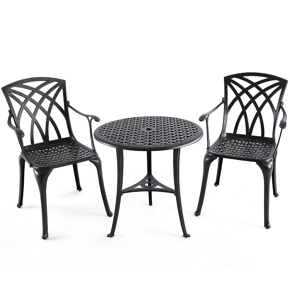 Nuu Garden Outdoor 3 Piece Cast Aluminum Patio Bistro Set with 26'' Round Table and Arm Chairs SCD001-01, Antique Bronze