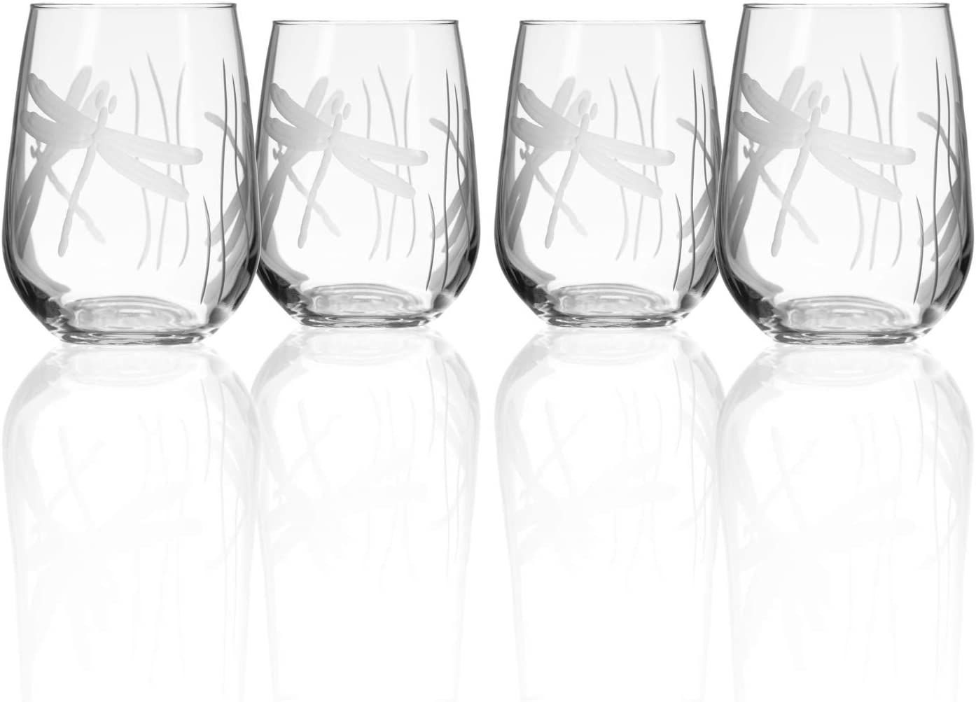 Dragonfly with name 17 oz stemless wine glass