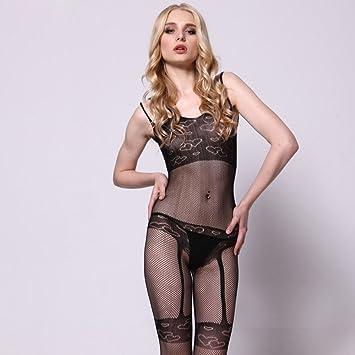 MX Traje Sexy de Encaje Negro Medias Atractivas Sexy ...