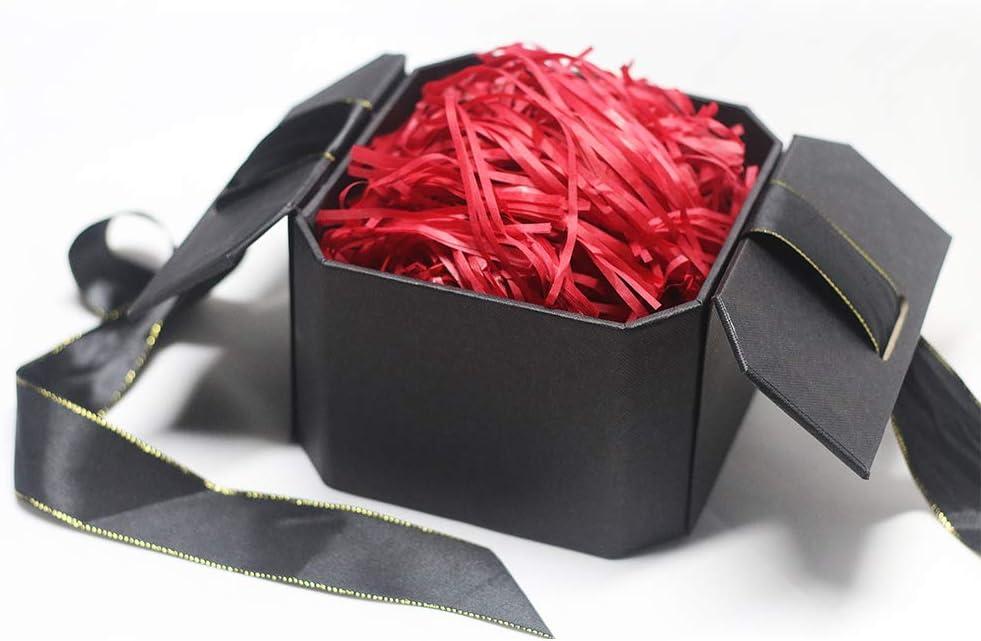 Caja de regalo de Hbsite Caja de regalo de lujo, sorpresa Caja decorativa reutilizable con relleno (papel triturado rojo) para bodas, cumpleaños, Navidad 15 * 15 * 10 cm