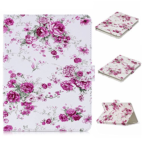 ch Tablet Case, Dteck Pretty Cute Stand Flip Folio Wallet Case with Card Slots PU Leather Protective Cover for iPad Mini,Kindle,Galaxy & Other 7.5-8.5 inch Tablet,Pink Floral ()