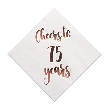 d1b699567f763 Cheers to 75 Years Cocktail Napkins, 50-Pack 3ply White Rose Gold 75th  Birthday