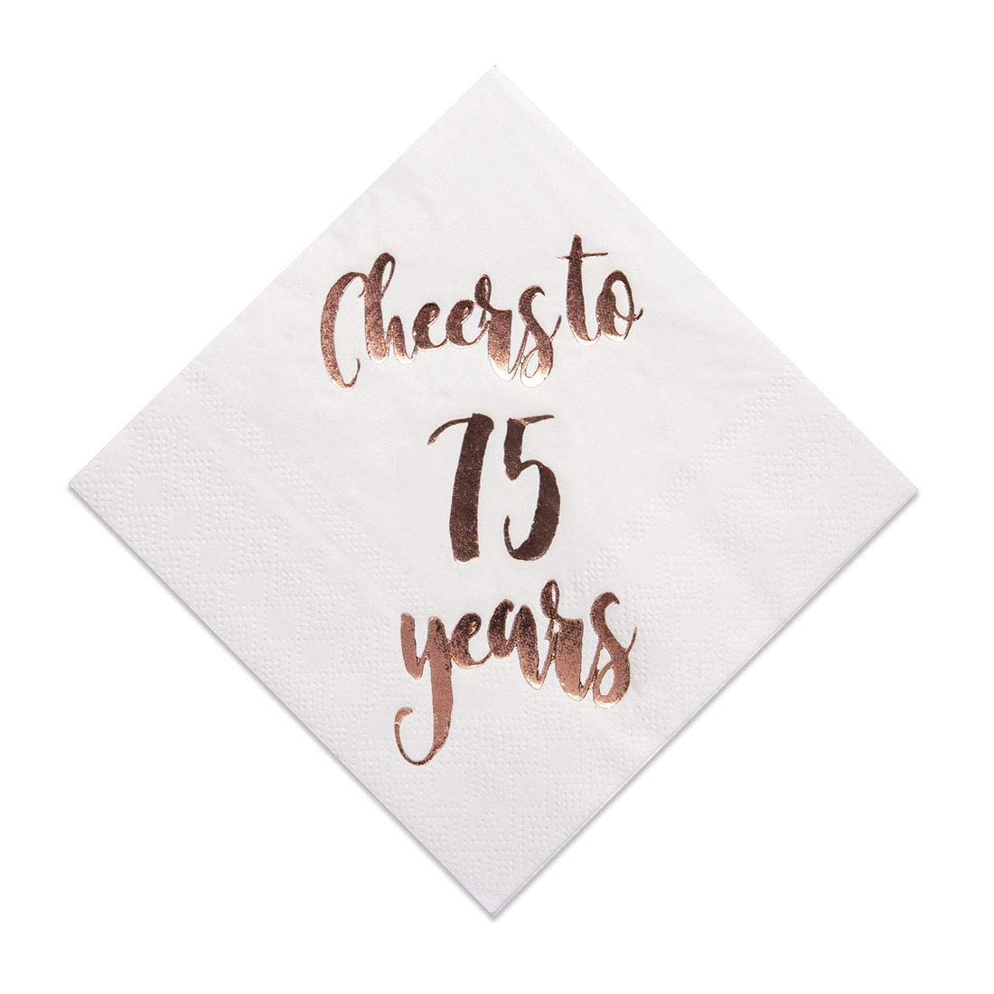 Cheers to 75 Years Cocktail Napkins, 50-Pack 3ply White Rose Gold 75th Birthday Dinner Celebration Party Decoration Napkin