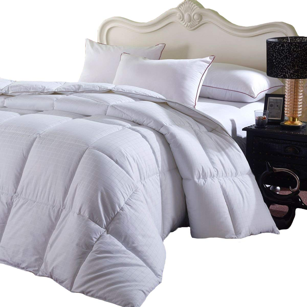 Royal Hotel's Overfilled Dobby Down Alternative Comforter, Twin / Twin-Extra-Long Size, Checkered White, 100% Cotton Shell 300 TC - 65 OZ Fill -750+FP
