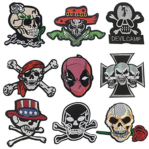 Embroidered Badge Patches - Iron On or Sew On Applique Patches Skull Theme (9pcs)