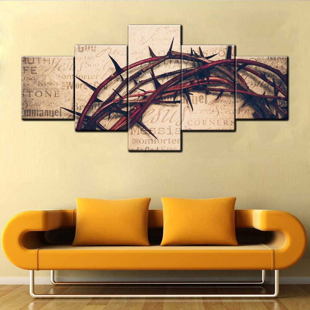 Canvas Prints Wall Art Crown of Thorns on Vintage Book Background Religion Wall Decor Home Decoration Stretched Gallery Canvas Wrap Giclee Print Giclee Wooden Framed Ready to Hang(50''Wx24''H)
