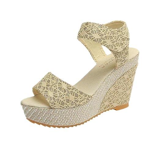 Beauty-Luo 👯 Sandali Donna con Zeppa Estive Elegant Scarpe Donna Estive  Eleganti Scarpe Donna 353a49b59b0