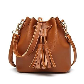 c9e8a22d5f02 XUZISHAN Vintage Mode Kleine Damen Leder Bucket Bag Handtasche Quaste  Tunnelzug Umhängetasche Messenger Crossbody Taschen Geldbörsen