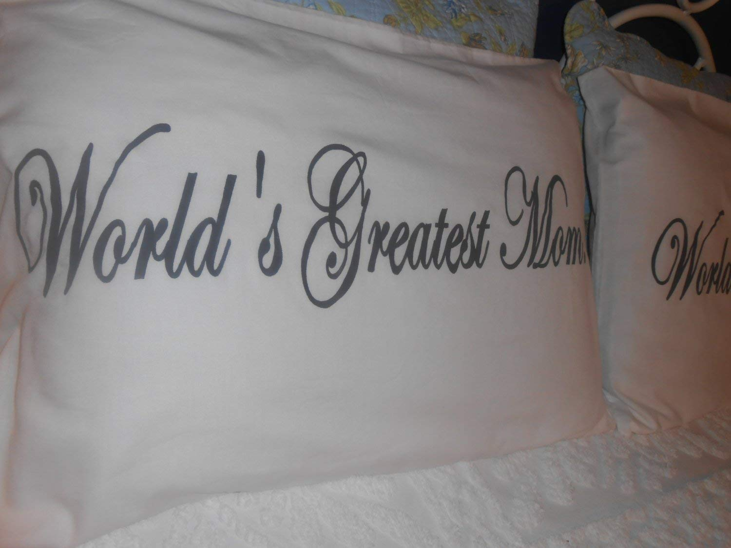 Bedroom Decor- Gift Idea Worlds Greatest Mom and Dad Hand Painted Couples Pillowcases