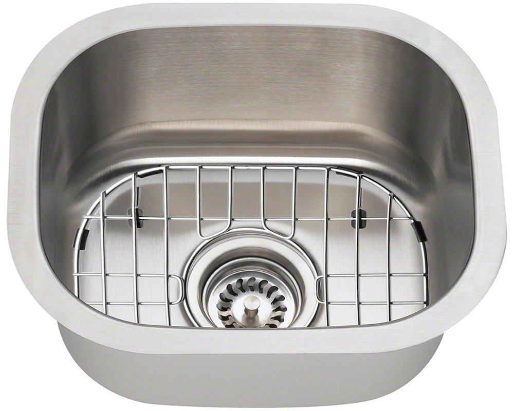 Polaris Sinks P2151-16-ENS 16 Gauge Single Kitchen Ensemble Brushed Satin by Polaris Sinks